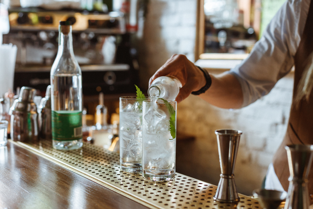 Minsk, Belarus, July 22, 2018. Prepairing gin and tonic using Whitley Nettle gin at the bar